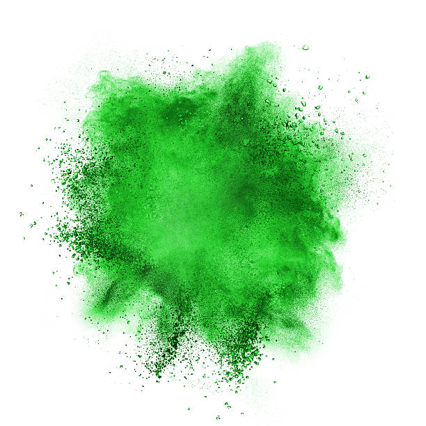 Green powder explosion isolated on white stock photo