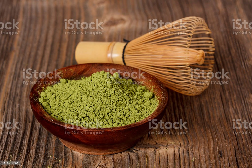 Green powder tea stock photo
