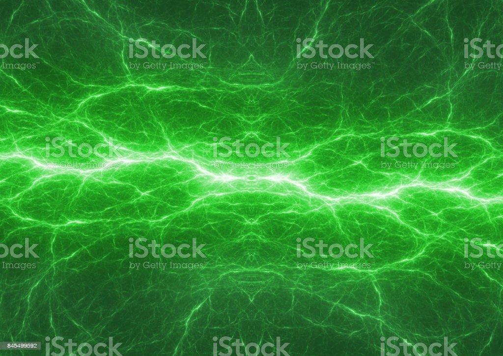Fondo de energía verde, fondo rayos eléctricos - foto de stock