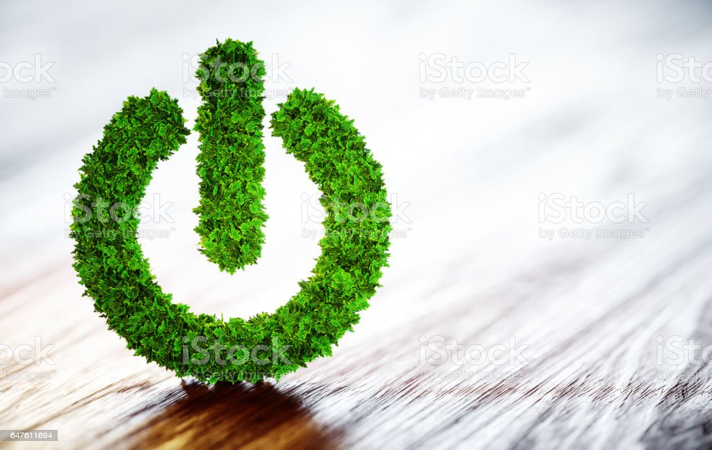 Green power button stock photo