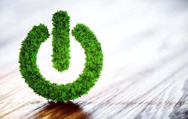 Green power button stock photo