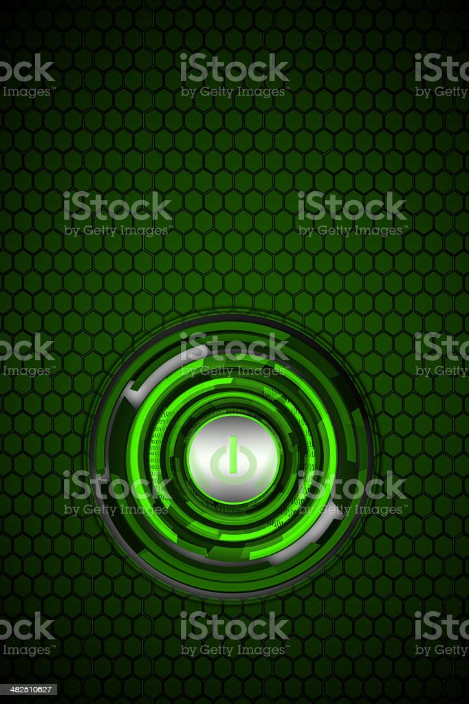 green power button technology stock photo