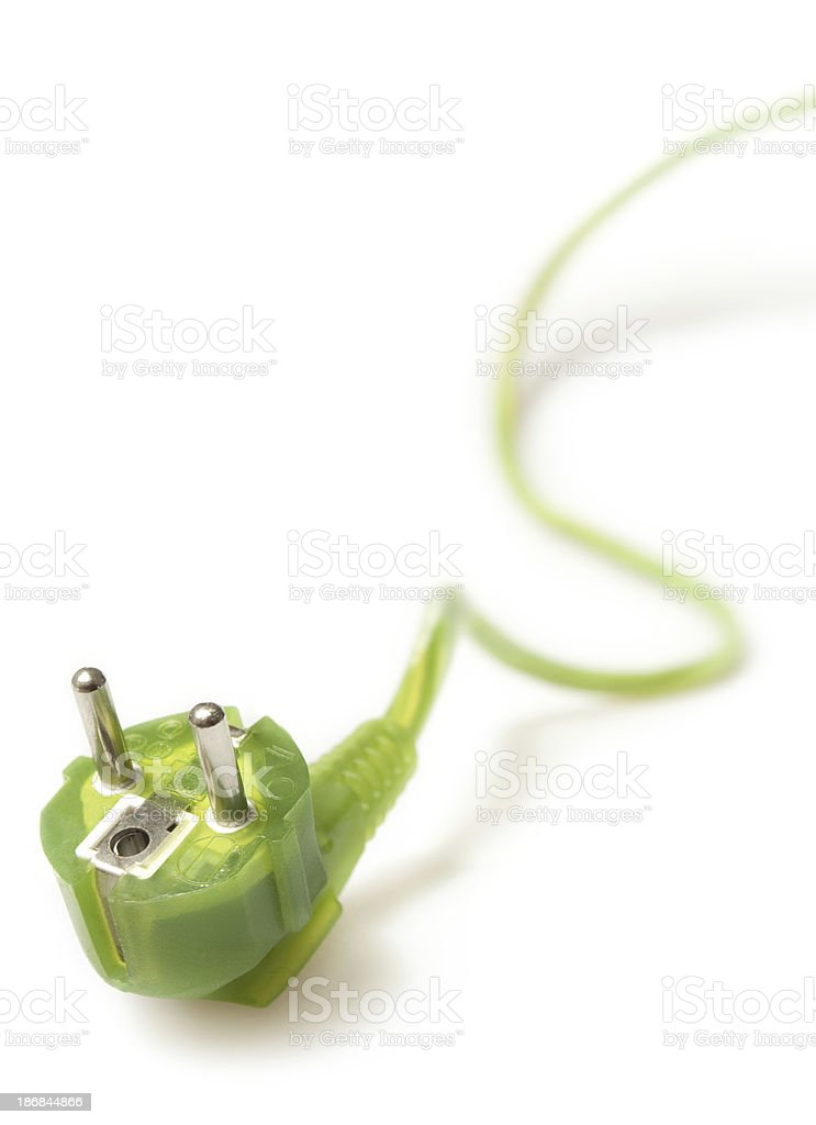 Green power cord and plug royalty-free stock photo