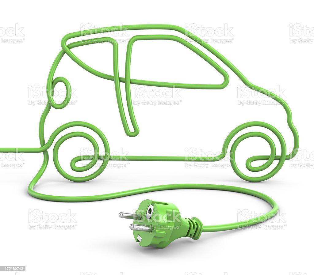 Green power cord car concept stock photo