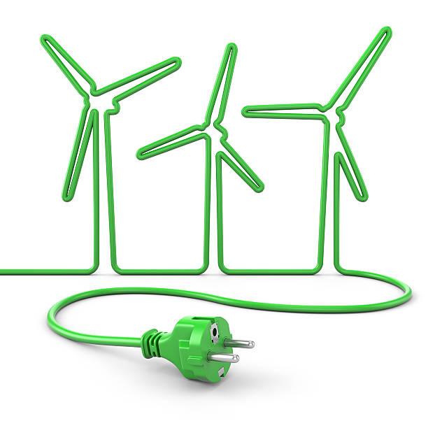 Green Netzkabel Windturbinen Konzept – Foto