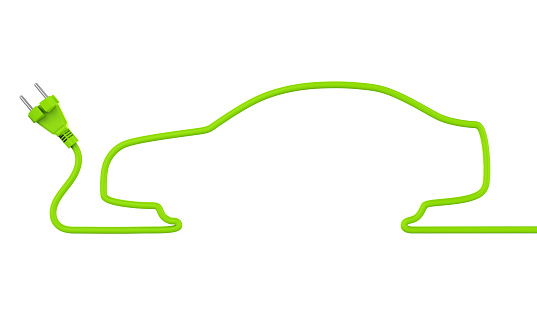 Green Power Plug Car Shaped isolated on white background. 3D render
