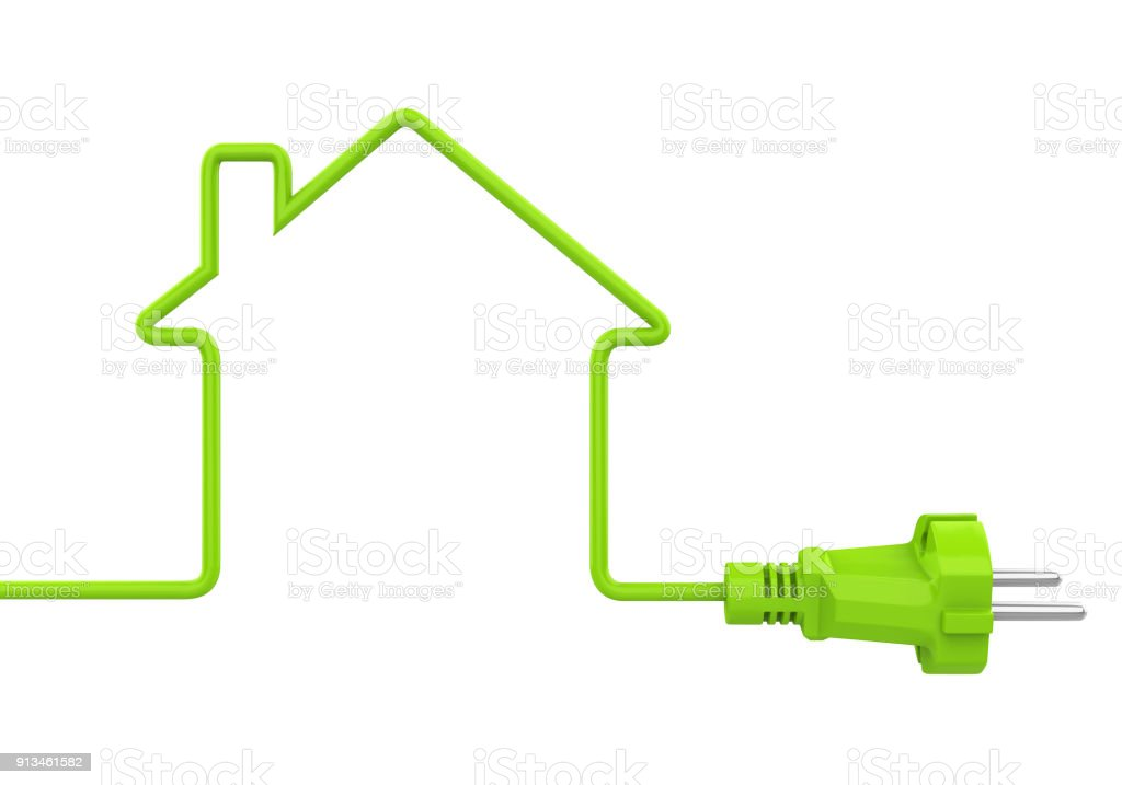 Green Power Plug House Shaped Isolated royalty-free stock photo