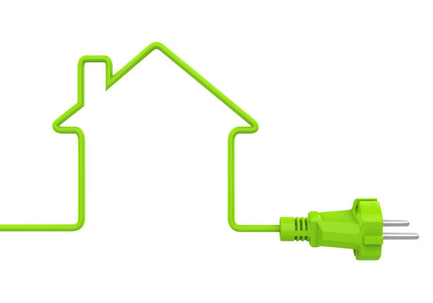 Green Power Plug House Shaped Isolated stock photo