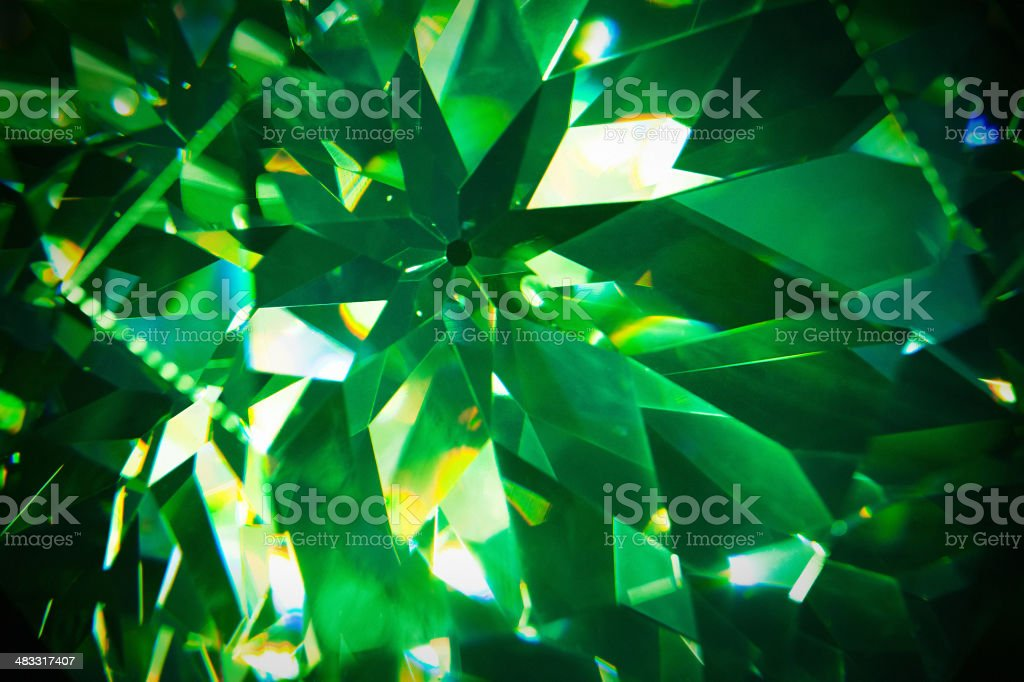 Green precious gem closeup Green crystal background Abstract Stock Photo