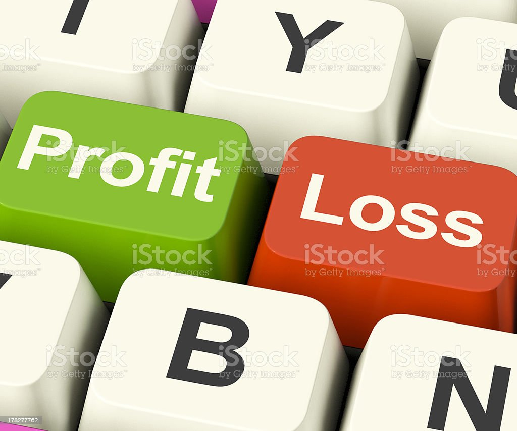Green profit and red loss button on keyboard stock photo