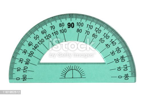 1060723604istockphoto Green protractor ruler isolated on white 1161952512