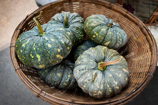 Green pumpkin in bamboo basket stock photo