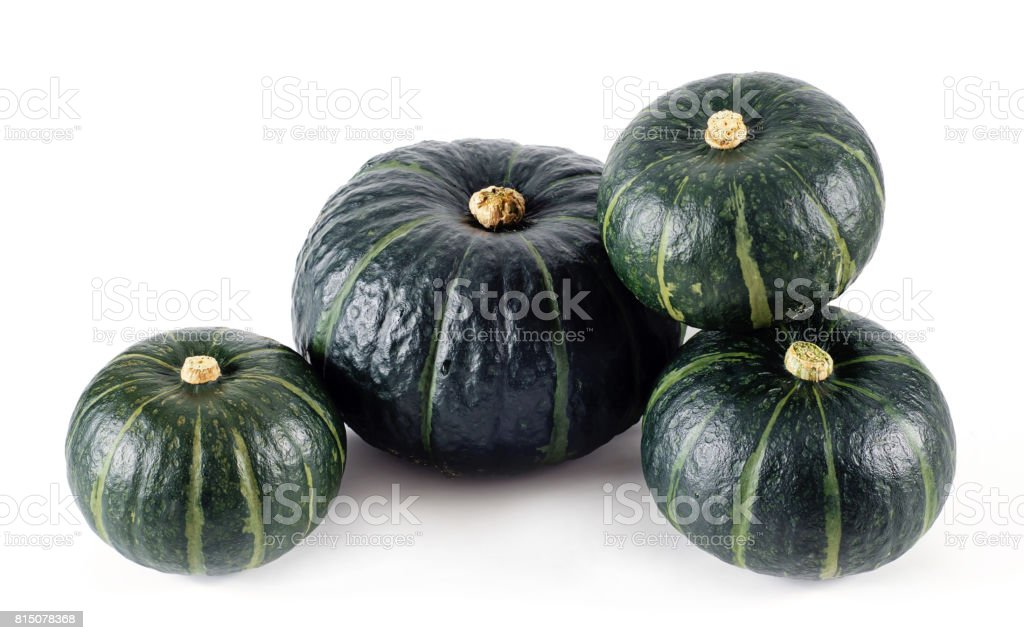 Green pumpkin isolated on the white background . stock photo