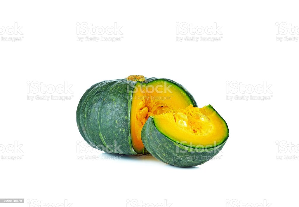 Green pumpkin isolated on the white background stock photo