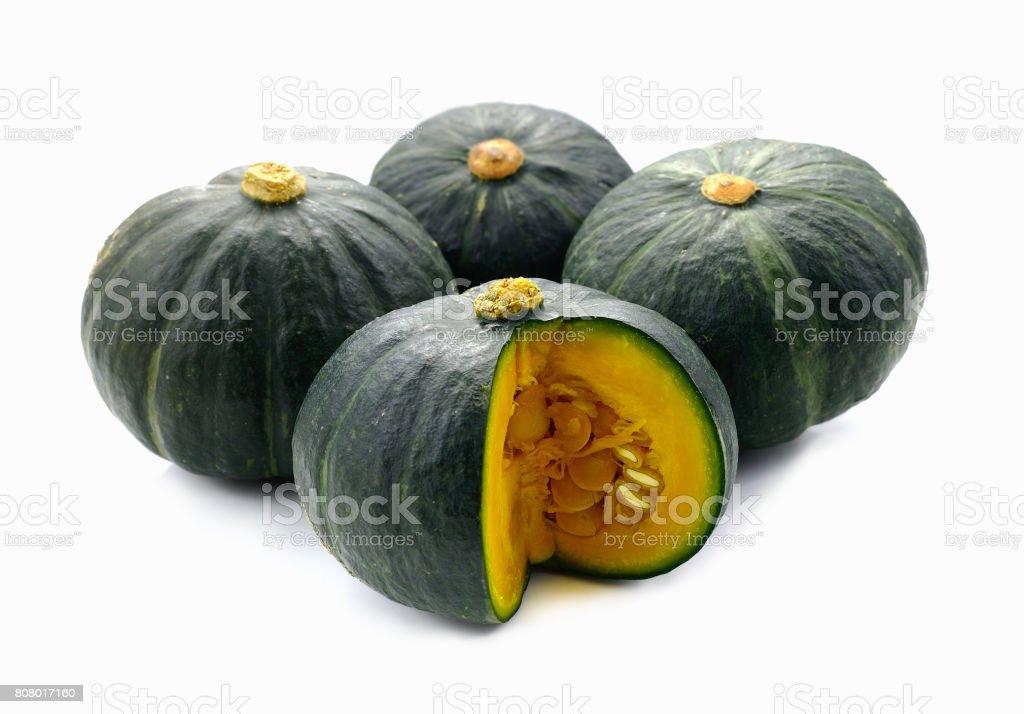 Green pumpkin on white background stock photo