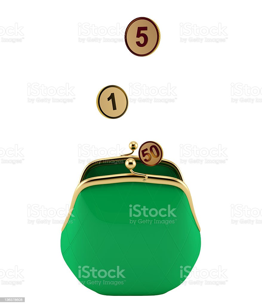 Green purse with gold coins royalty-free stock photo