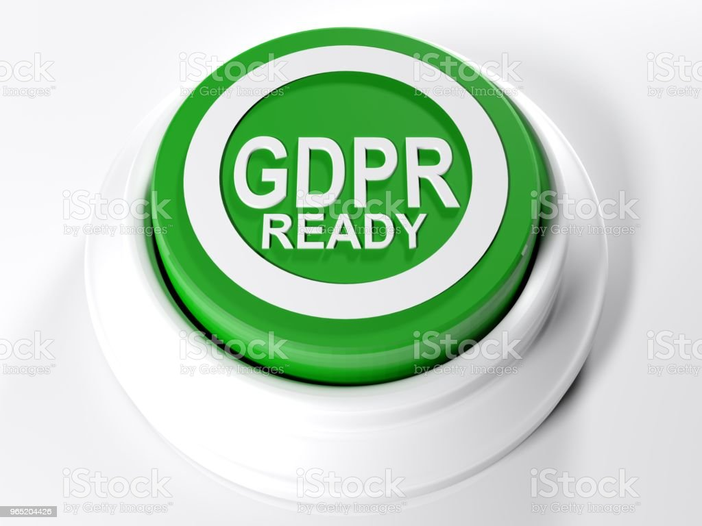 GDPR READY green pushbutton - 3D rendering zbiór zdjęć royalty-free
