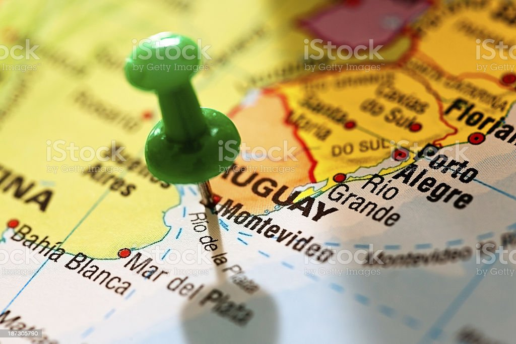 Image of: Green Pushpin Marks Montevideo Capital Of Uruguay On Map Stock Photo Download Image Now Istock