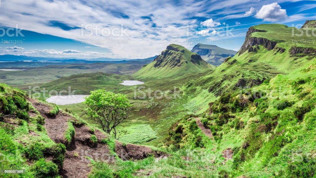 Green Quiraing in Isle of Skye, Scotland, United Kingdom stock photo