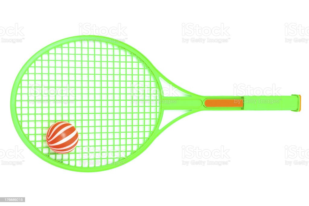 green racket and ball royalty-free stock photo