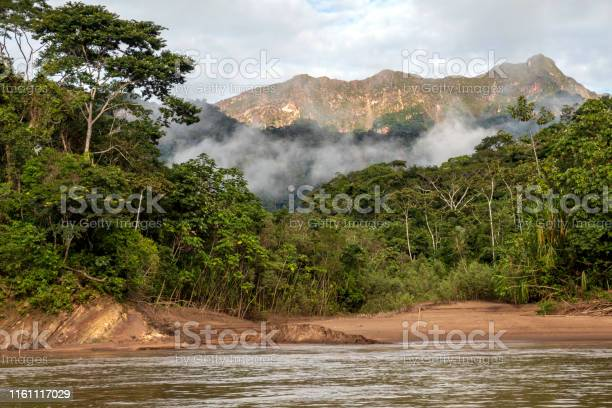 Photo of Green rainforest mountains in clouds, Amazon river basin, South America