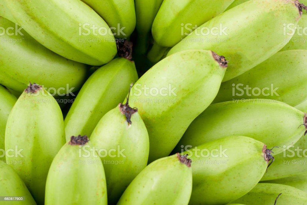grüne rohe goldene Bananen auf weißem Hintergrund gesundes Pisang Mas Banane Frucht essen isoliert Lizenzfreies stock-foto