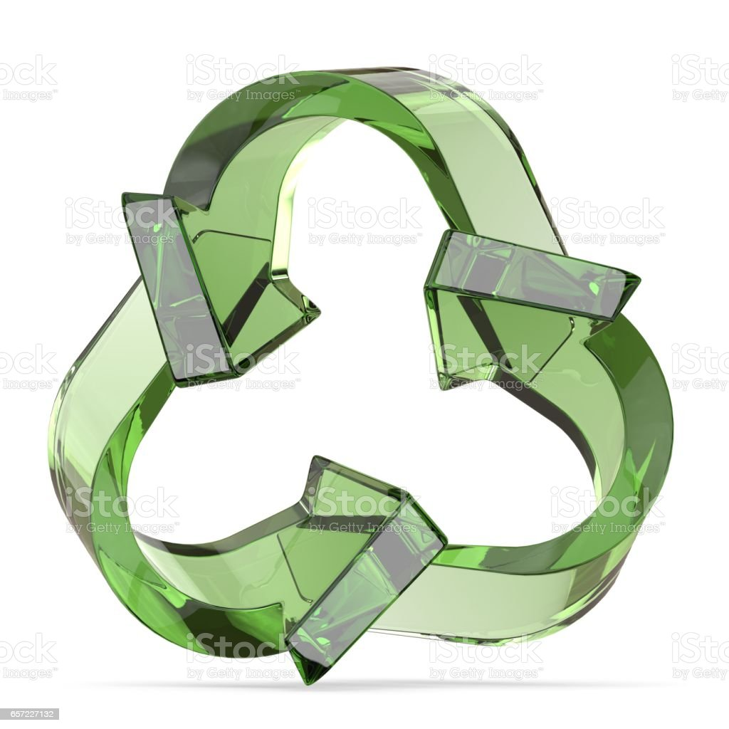 Green recycle sign, three arrows 3D stock photo