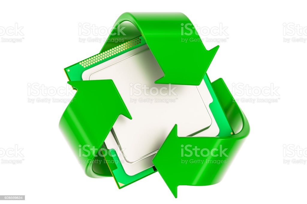 Green Recycle Symbol With Cpu Computer Processor Unit 3d Rendering