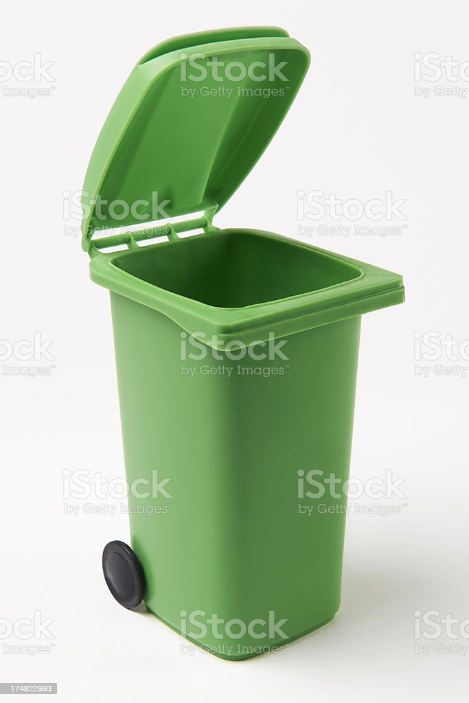 Green Recycling Bin On White Background royalty-free stock photo