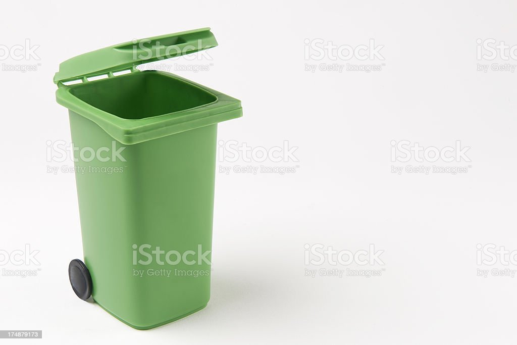 Green Recycling Bin On White Background stock photo