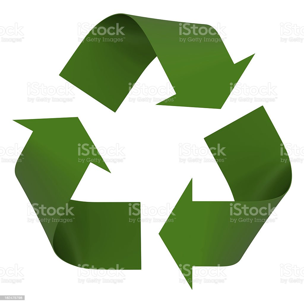 A green recycling symbol is on a white background  stock photo