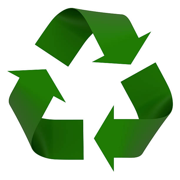 a green recycling symbol is on a white background  - recycling symbol stock photos and pictures