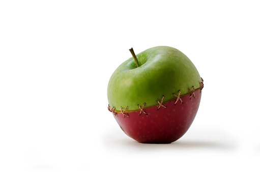 Green Red Stitched Apple Stock Photo - Download Image Now