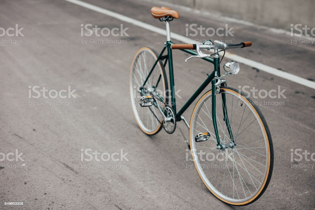 Green retro bicycle stock photo