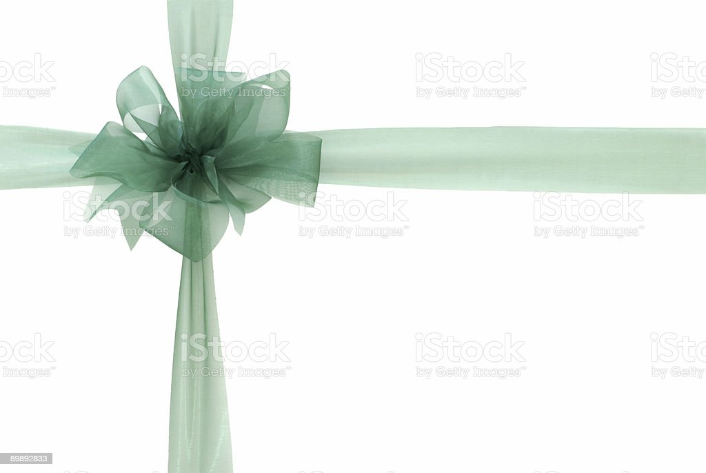 Green ribbon and bow (clipping path) royalty-free stock photo