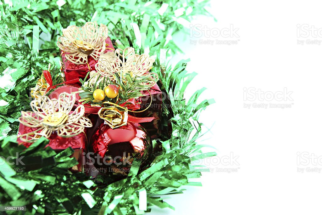 Green ribbon and red gift box. royalty-free stock photo