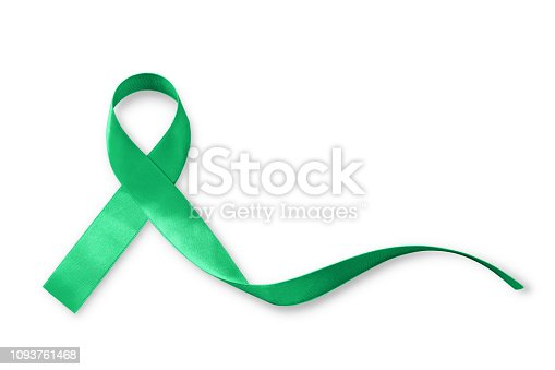 Green ribbon awareness symbolic bow for Kidney, Gallbladder, Bile Duct Cancer, Glaucoma, Leukemia, Traumatic Brain Injury, and Mental Health illness (bow isolated on white with clipping path)