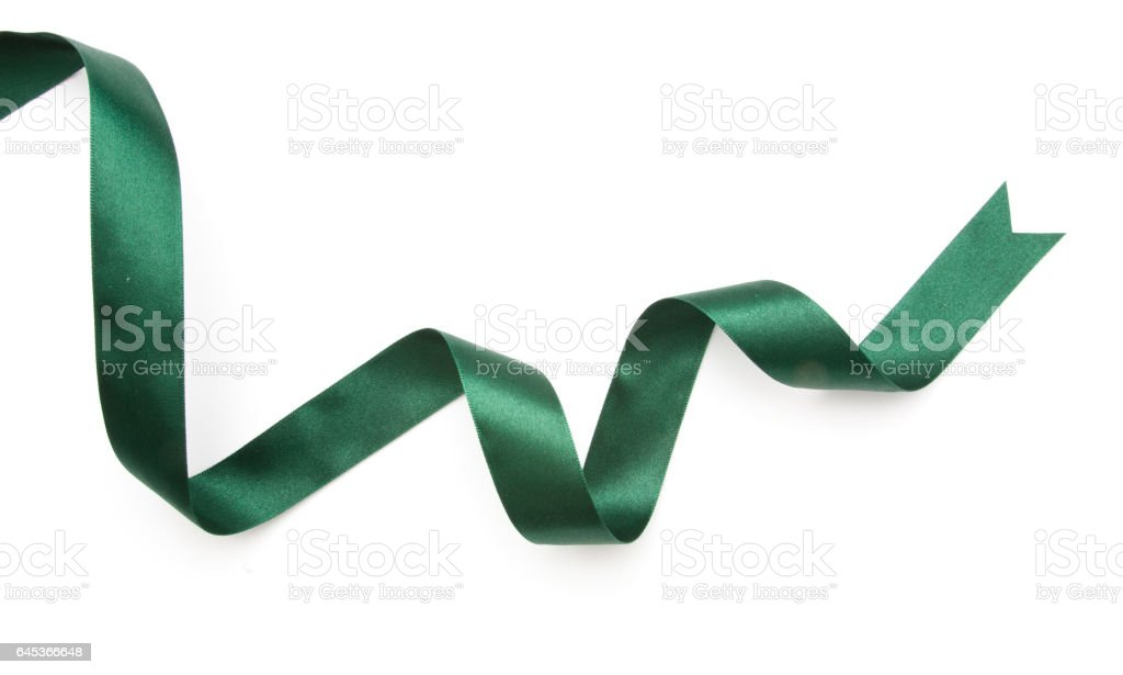 green ribbon border isolated on white background stock photo
