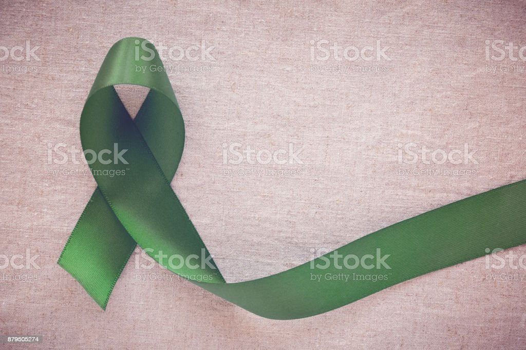 Green Ribbon, cancer awareness, Liver, Gallbladder Bile Duct cancer awareness, Hepatitis B awareness stock photo