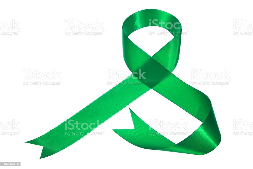 Green Ribbon Cursive S Shape on White Background stock photo