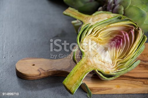Green ripe raw big artichokes heads ready to cook