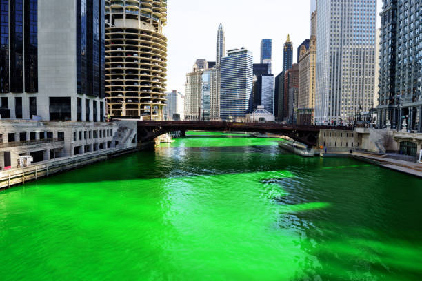 green river, chicago - st patricks days stock photos and pictures