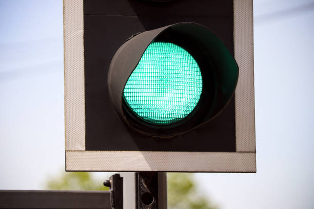 Green Road Traffic Light stock photo