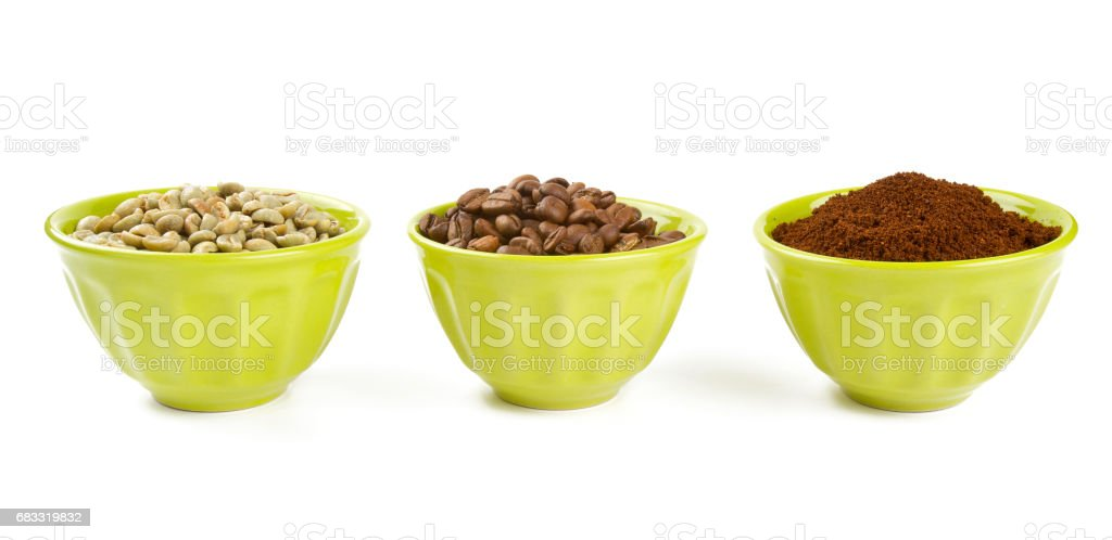 green, roasted and ground coffee royalty-free stock photo