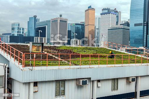 Hong Kong,Hong Kond S.A.R. - May 3, 2014:    Green Roof and Hong Kong Island Skyline, China, Asia Nikon D3x