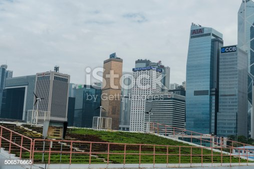 Beautiful Hong Kong skyline with Living Roof in front, Asia.