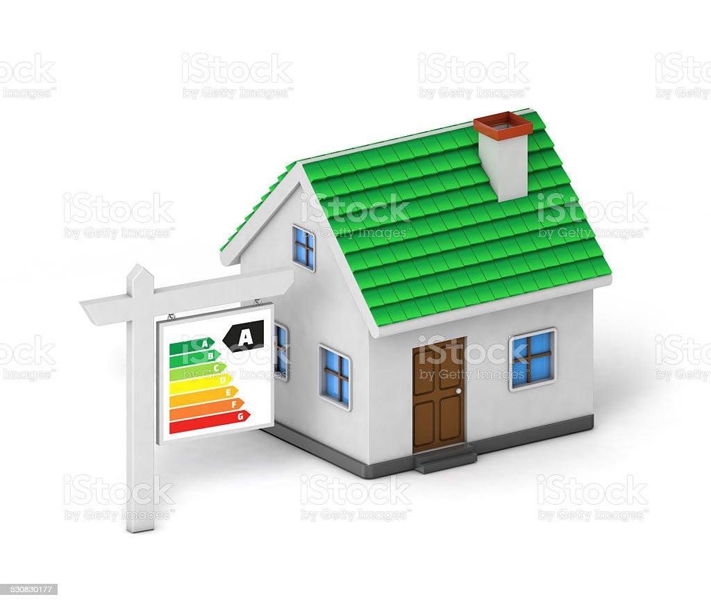 Grüne Dach Haus Energie Label Lizenzfreies Stock Foto