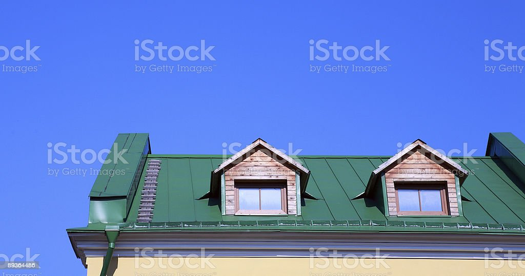 green roof on house royalty-free stock photo