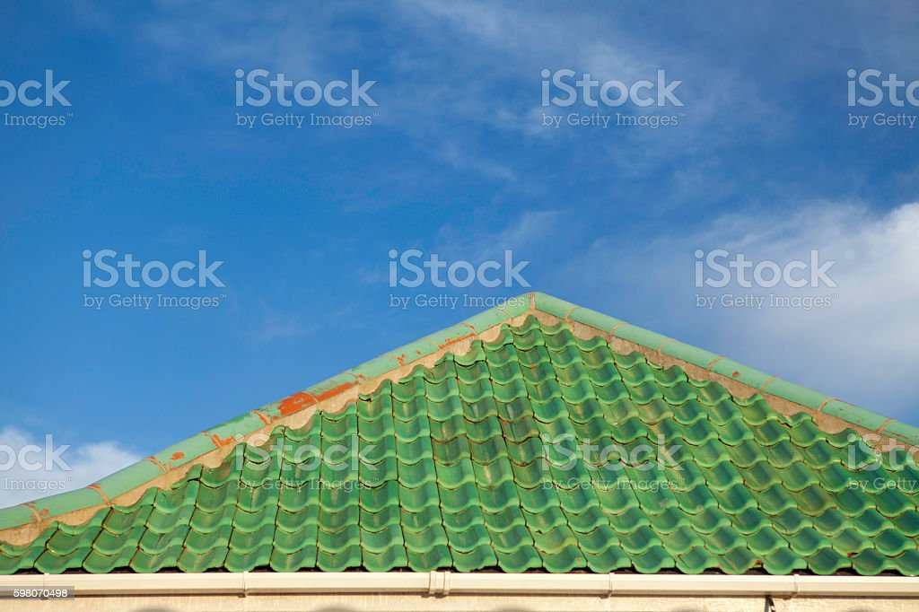 Green roof tiles stock photo