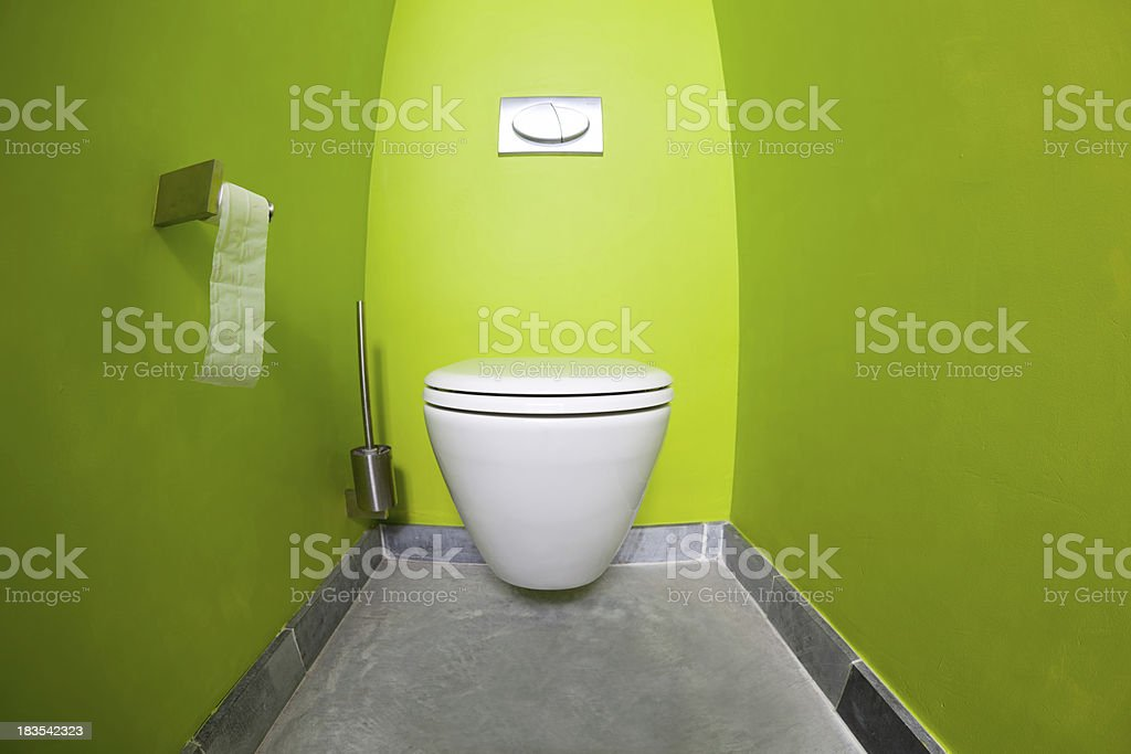 Green room toilet fisheye view stock photo